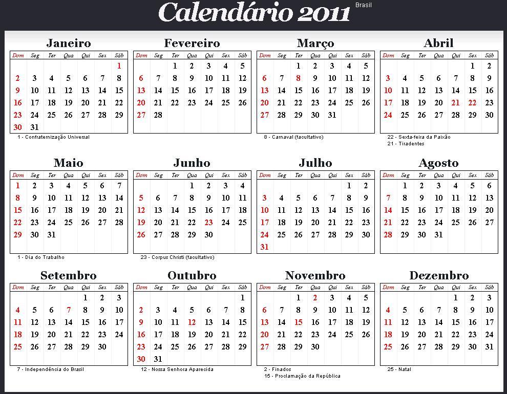 Resultado de imagem para 2011 calendario