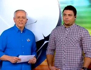 Milton Leite na transmissão do jogo do Real Madri versus Barcelona (em Madri, no Santiago Bernabeu) no estúdio, em São Paulo, com a presença de Ronaldo