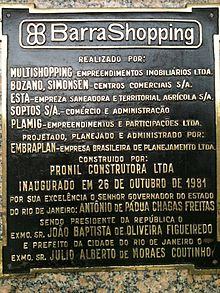 Placa de inauguração do Barra Shopping, 1981
